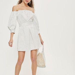Topshop off the shoulder polka dot dress